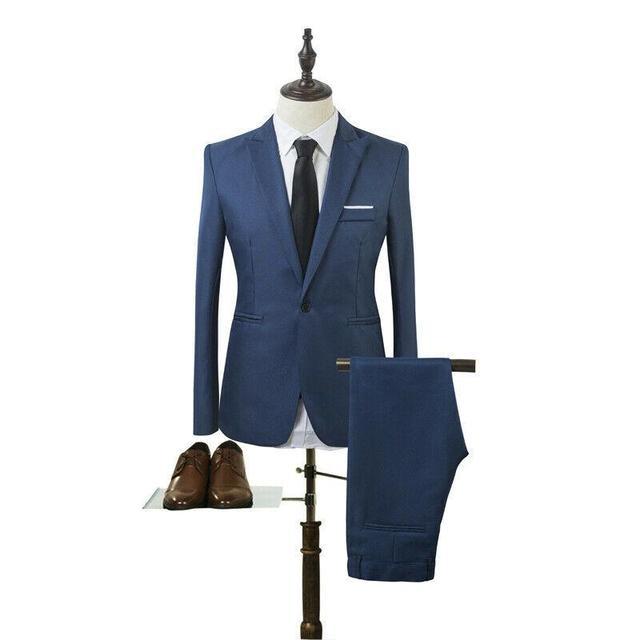 Costume Homme Mens Blazer Suit Ensembles Slim Tuxedo Coat Pants Formal Evening Dinner Wedding Groom 5