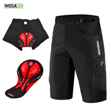 WOSAWE Black Cycling Shorts With Non-Remove Gel Pad Underwear MBT Bike Downhill Loose Outdoor Bicycle