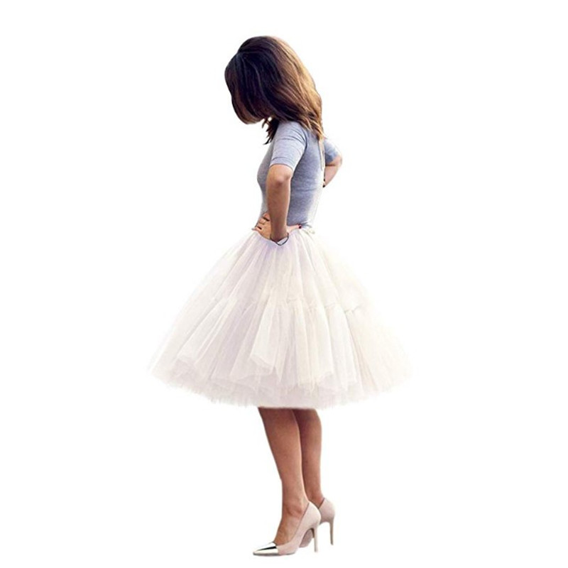 Summer Ladies Petticoat Multi-color Multi-layer Knee-length Skirt Tutu Tulle Pleated Skirt