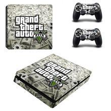 Grand Theft Auto V GTA 5 PS4 Slimสติกเกอร์ผิวรูปลอกไวนิลสำหรับPlaystation 4คอนโซลและตัวควบคุมPS4 Slimสกินสติกเกอร์ไวนิล