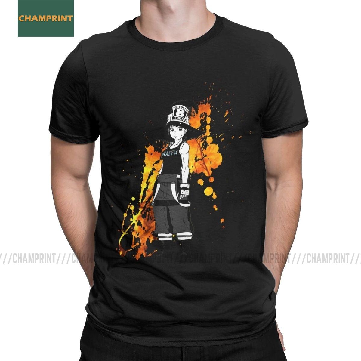 Men T-Shirt Maki Fire Force Cotton Tees Short Sleeve Shinra Anime Enen No Shouboutai Kusakabe Firefighter Japan Manga T Shirt