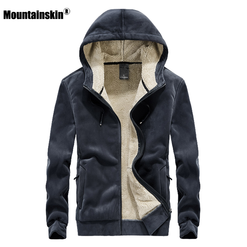 Mountainskin 2019 Winter New Fleece Hoodie Sweatshirt Mens Thick Warm Coat Male Solid Color Jacket Men Brand Clothing 8XL SA811