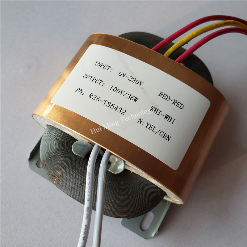<font><b>100V</b></font> 0.35A Transformer R Core R25 custom transformer 220V 35VA with copper shield for power supply amplifier image