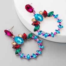 цена на Korean and European High Class Alloy Ear Jewelry  Hollowing Out Round Zinc Alloy Earrings with Color Round and Oval Rhinestone