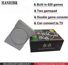 HANHIBR 620 Retro Video Game Console Gamepad Duplo 8 Pouco Apoio AV Out Colocar TV Video Game Com 2 PCS controlador de 2019 Mais Novo