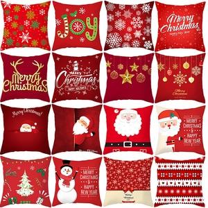 Decorative Christmas Cushion Cover Red Home Decor Sofa Pillow Case Cover Seat Car Throw Pillowcase Christmas Decoration For Home