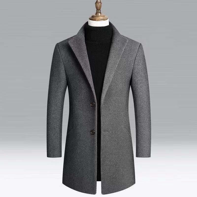 2019 New Style AliExpress Hot Selling Men's Mid-length Slim Fit Duffle Coat Wool Duffle Coat MEN'S Coat