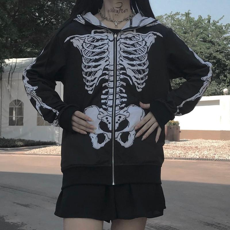 Goth Dark Skeleton Print Gothic Sweatshirts Women Halloween  Autumn 2019 Winter Long Sleeve Hoodies Grunge Punk Vintage Zipper