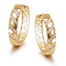 MxGxFam большие круглые серьги с цирконием для женщин модные ювелирные изделия золотого цвета 18 k