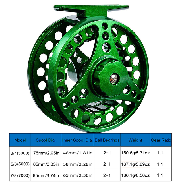 Moulinet de pêche à la mouche en alliage daluminium 3/4 5/6 7/8 WT 2 + 1BB Interchangeable pour eau salée et eau douce mouche roue accessoires de pêche