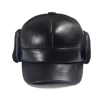 Men Winter Leather Hat Real Fur Hat Cowhide Baseball Cap Bomber Hats Russian Hat Men Dad Father Thick Tab Luxury Winter Caps 3
