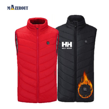 MAZEROUT Size s-4XL Men Autumn Winter Flexible Electric Thermal Waistcoat Outdoor USB Infrared Heating Vest Woman Cold Days