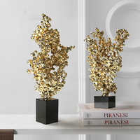 Metal Coral Black Marble Statue Handicraft Decorations Christmas Decorations For Home Sculpture Escultura Home Decor Accessories