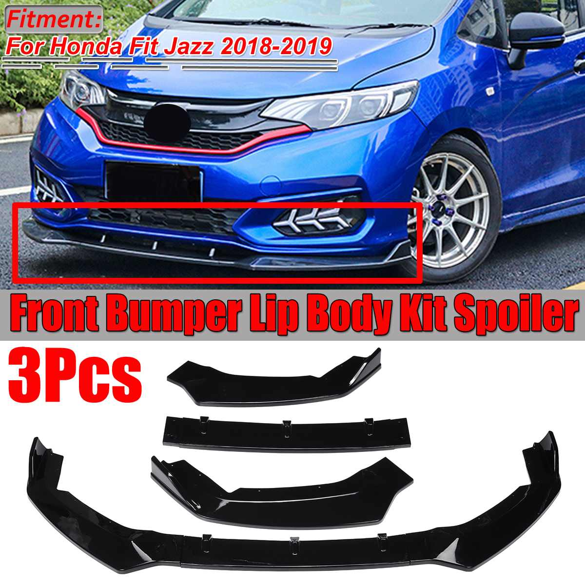 New 3pcs Carbon Fiber Look/Black Car Front Bumper Splitter Lip Body Kit Spoiler Diffuser Guard For Honda Fit For Jazz 2018-2019