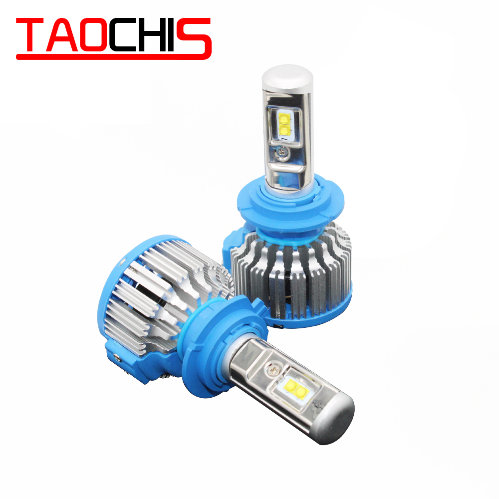 TAOCHIS T1 Auto <font><b>LED</b></font> Head Lights <font><b>Lamps</b></font> H1 H3 9005 9006 <font><b>H7</b></font> H4 9007 White Color 6000K Waterproof Car Styling Motorcycle Foglights image