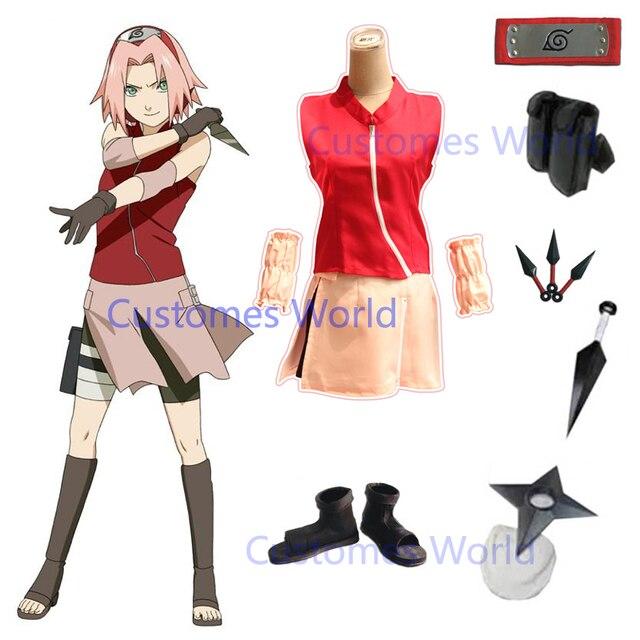 Halloween Schort.Hot Naruto Shippuden Haruno Sakura Cosplay Costume Halloween Wig Full Set Dress Top Skirt Headband Shoes Kunai Bag Shuriken Aliexpress