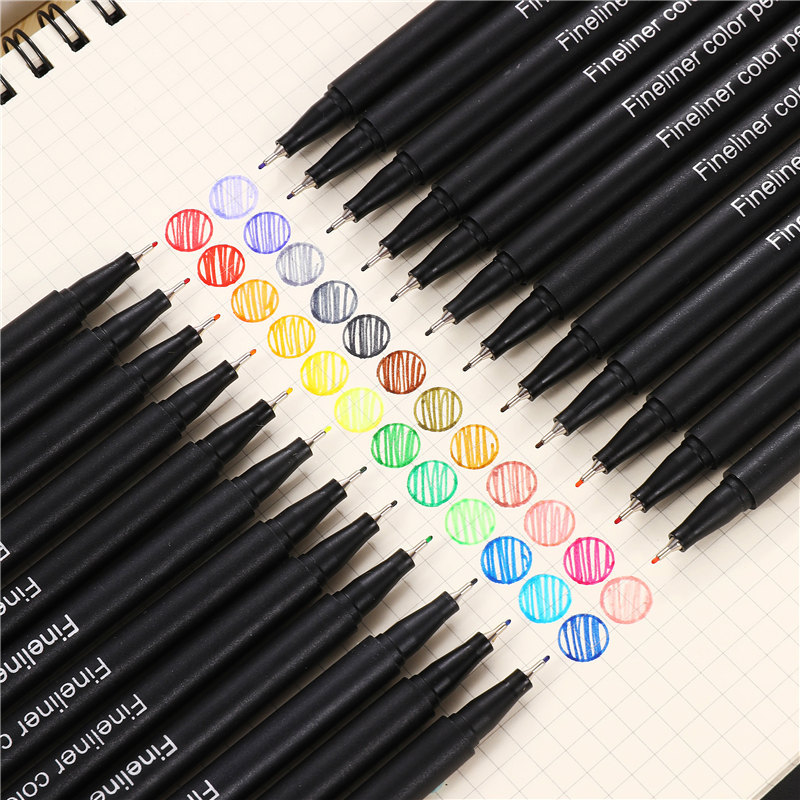 0.4mm Micron Liner Marker Pens 12 Colors Fineliner Pen  Water Based Assorted Ink For Painting School Liners For Drawing