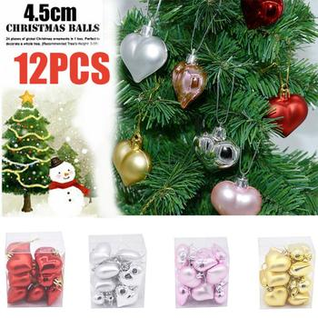 12 Pc/set Christmas Tree Xmas Balls Decorations Party Wedding Ornaments Heart Shaped Gifts for the new year 2021 boze narodzenie image