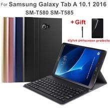 Bluetooth Keyboard Case for Samsung Galaxy Tab A 10.1 2016 SM T585 Leather Case for Funda Tablet Samsung Galaxy Tab A 10.1 T580 dulcii for samsung galaxy tab s3 keyboard case detachable bluetooth keyboard leather stand for samsung galaxy tab s3 9 7 case