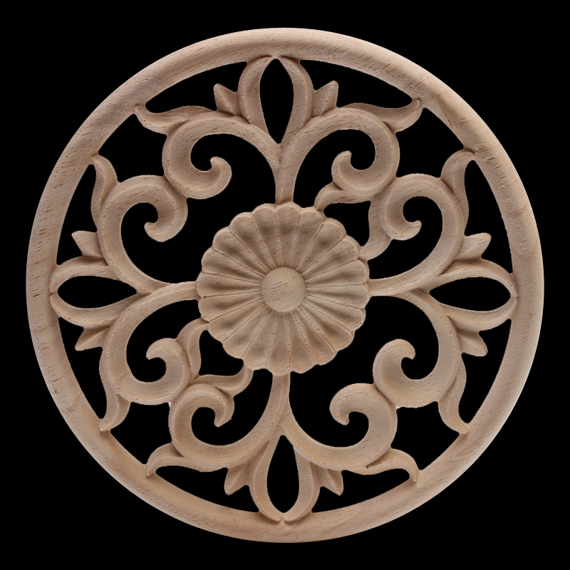 Ornamental Antique Natural Carved  Wood Figurines Wood Decal Wood Applique Onlay Large Long Oval Wooden Window Furniture Cabinet