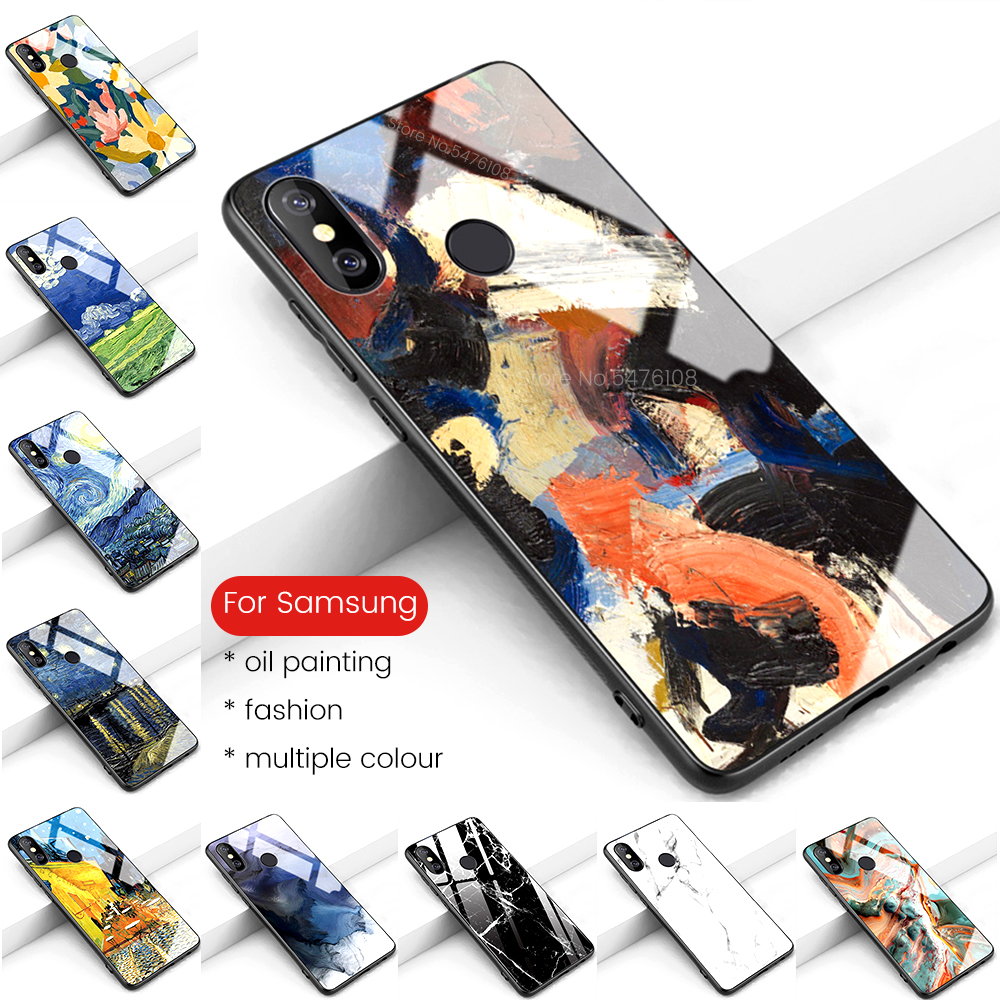 oil painting tempered glass case on for samsung galaxy a10 a10e a20e a20 a10s a20s a30 a30s a40 a50 a50s a60 a70 a80 2019 cover