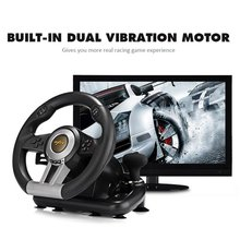 Racing Game Pad 180 Degree Steering Wheel Vibration Joysticks With Foldable Pedal For PC PS3 PS4 Xbox One Dual mode цена