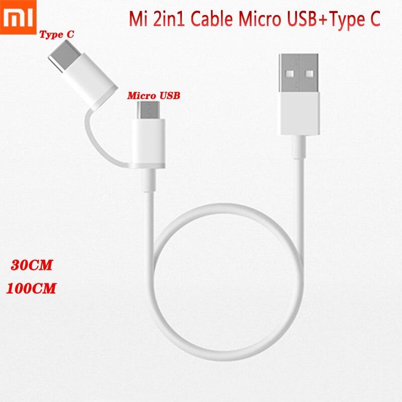 Оригинальный кабель для быстрой зарядки Xiaomi Mi 2 в 1 Micro USB + USB Type-C кабель для быстрой зарядки для Redmi 8T 8A Note 7 8 Pro Mi 10 9 Pro A3