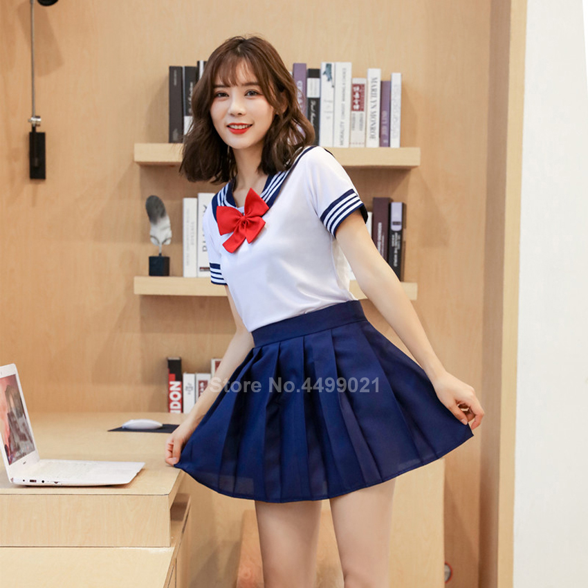 Woman <font><b>School</b></font> <font><b>Uniforms</b></font> <font><b>Sexy</b></font> Collage Student Sailor Party Cosplay Costume <font><b>Japanese</b></font> Short Sleeve JK Suit Girls Pleated Skirt image