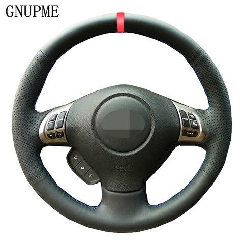 marcador vermelho da capa de volante do carro de couro do plutonio preto para subaru