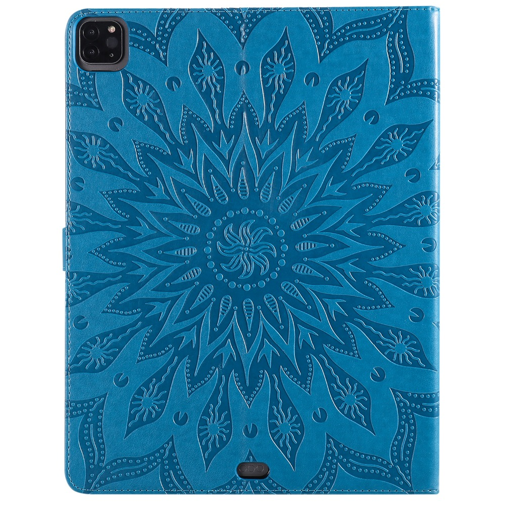 2020 Case Shell for Pro Embossed Flower iPad 3D Protective 12 Skin Leather 9 Cover