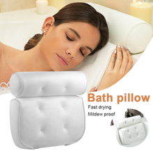 Bath-Pillow Back-Support Bathroom-Accessories Home 3D Spa Mesh with Suction-Cups-Neck