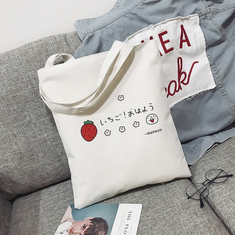 Tote Bag Women New Personality Student Literary Canvas Bag White Strawberry Cartoon Printing Simple Zipper Shoulder Bag.w