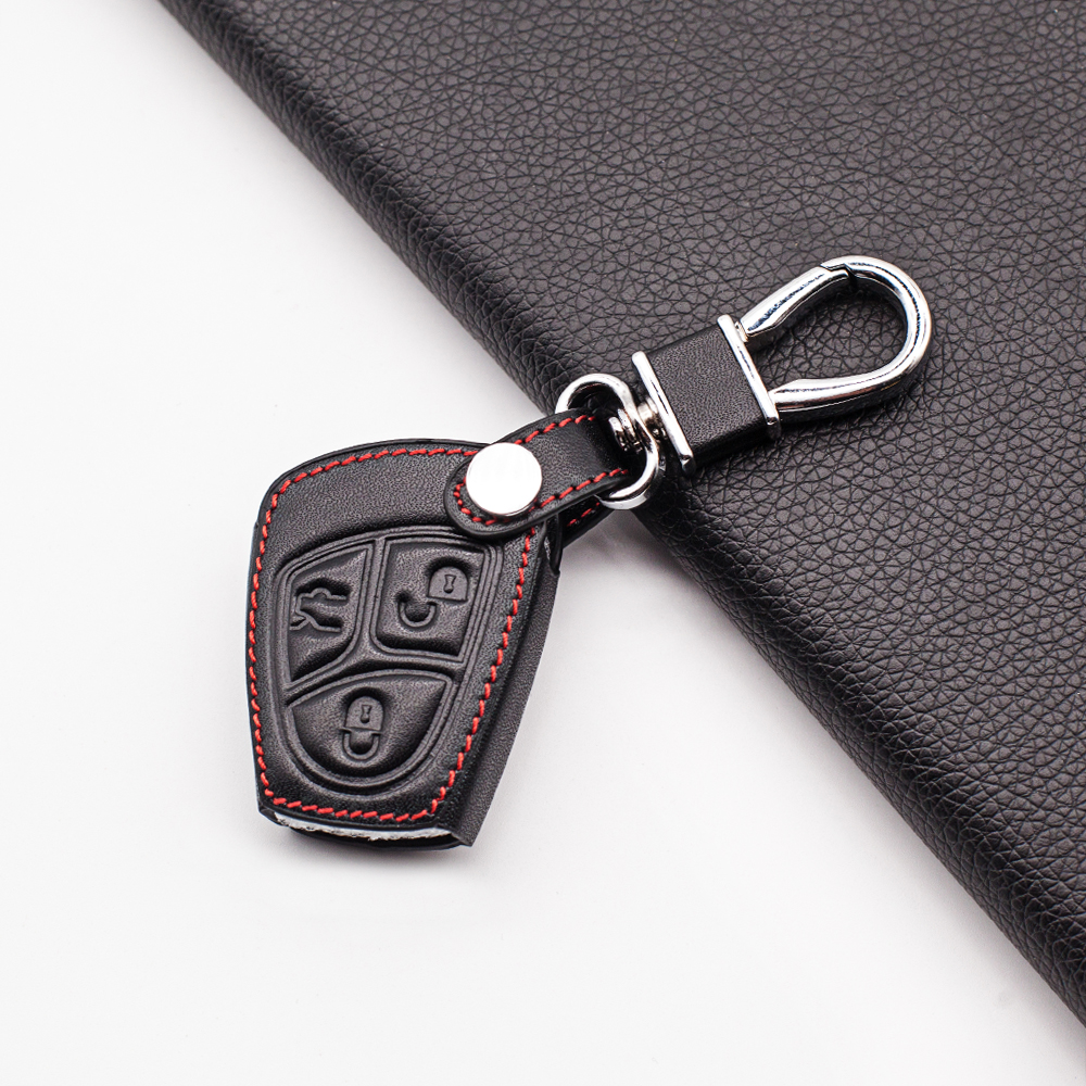 For Mercedes Benz C B E Class CLS CLK SLK CL / w203 w211 w204 3 Buttons Carrying Leather Key Fob Cover Case Protect Shell image