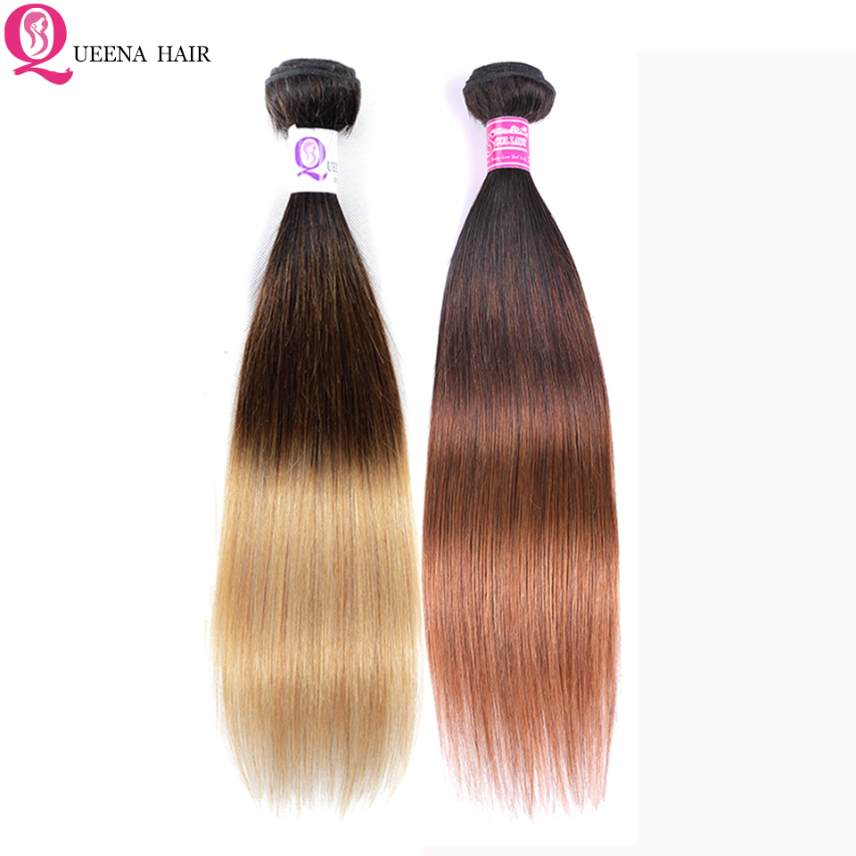 Cheap Ombre Hair Bundles T1B/4/27 1b/4/30 Three Tone Color Peruvian Ombre Straight Human Hair Weave Bundles Remy Hair Extensions