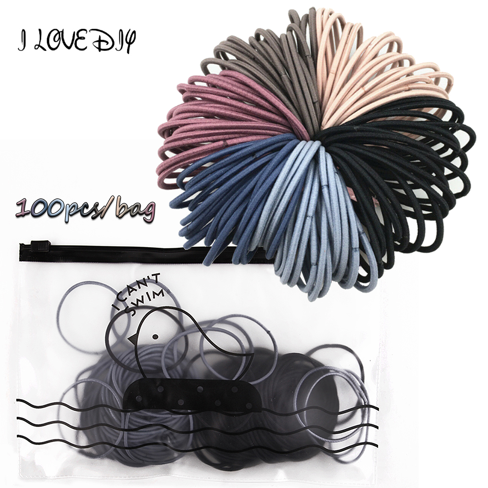100pcs With Bag 4.5cm High Elastic Rubber Bands Basic Hair Bands Scrunchies Hair Ties Gum Women Girls Baby Ponytail Holder Rings