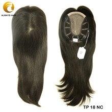 """TP18 1"""" тонкий моно парик Топпер для женщин натуральный прямой парик человеческие волосы клип в топпере 120% плотность волос штук"""