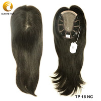 TP18 14 Fine Mono Wig Topper for Women Natural Straight Toupee Human Hair Clip in Toppers 120% Density Hair Pieces