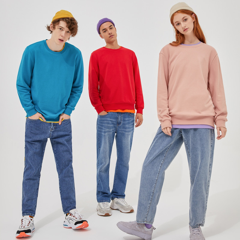 Metersbonwe Autumn And Winter new comfort Sweatshirt men Thick Knit pullover Solid color couple Hoodies 3