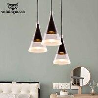 Post Modern Tapered Led Glass Pendent Lights Nordic Black Iron Kitchen Hanging Lamps Cafe Pendant Light Hotel Bedside Lighting