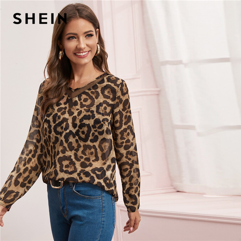 SHEIN Multicolor Mesh Insert Leopard Print Top Sheer Blouse Women Spring Summer V Neck Office Ladies Casual Blouses