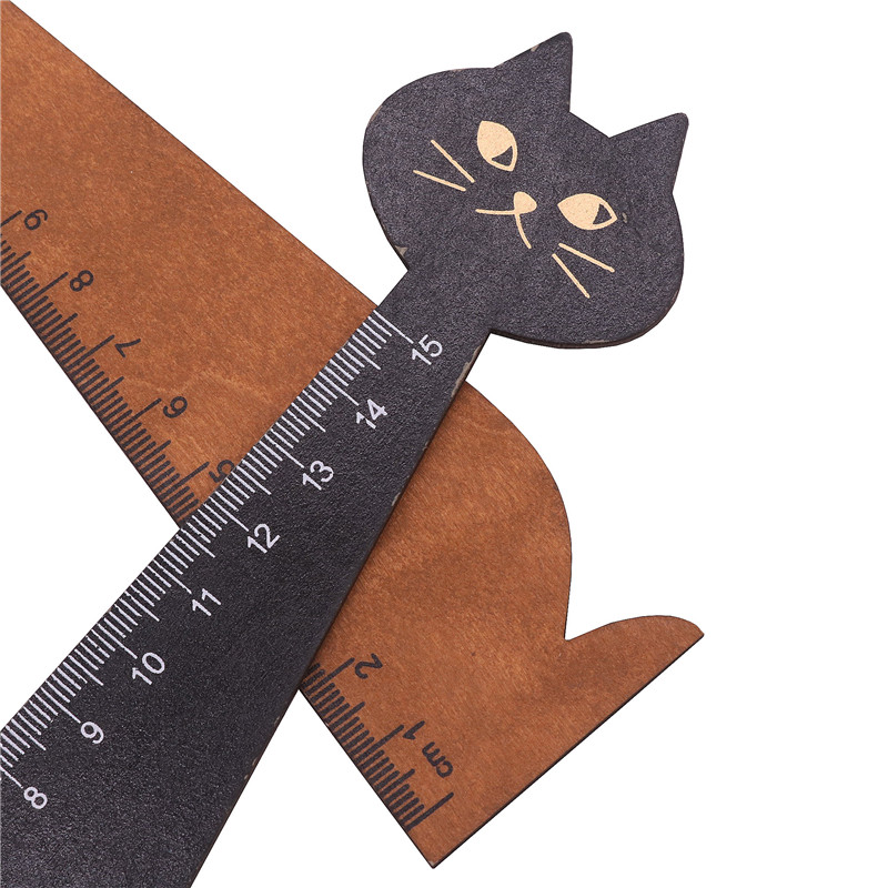 1pcs Wooden Ruler Cat-shaped 15cm School Student Supplies Cute Creative Ctationery Girl Kawaii