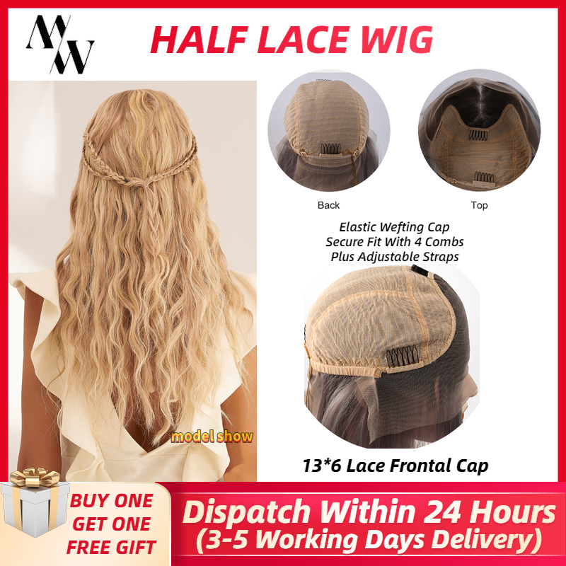 MW Pre Plucked Blonde Remy Human Hair Half Lace Wig 20 Inches Long Straight Ombre Frontal Wigs For Women FedEx Fast Delivery