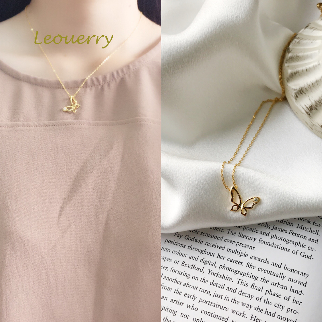 Leouerry 925 Sterling Silver Hollow Butterfly Zircon Necklace Simple Exquisite 18k Gold Chain Necklaces for Women Gift Jewelry image