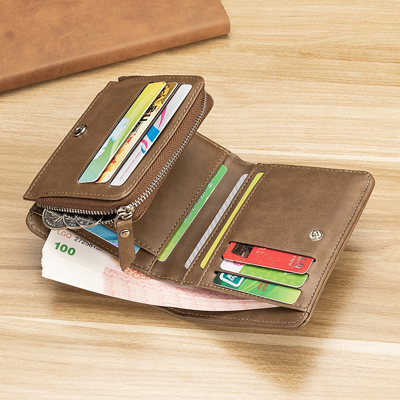 Men Wallets New Style Vintage Trifold Wallet Zip Coin Pocket Hasp Fashion Brand Quality Purse PU Leather Wallet For Wallet Men