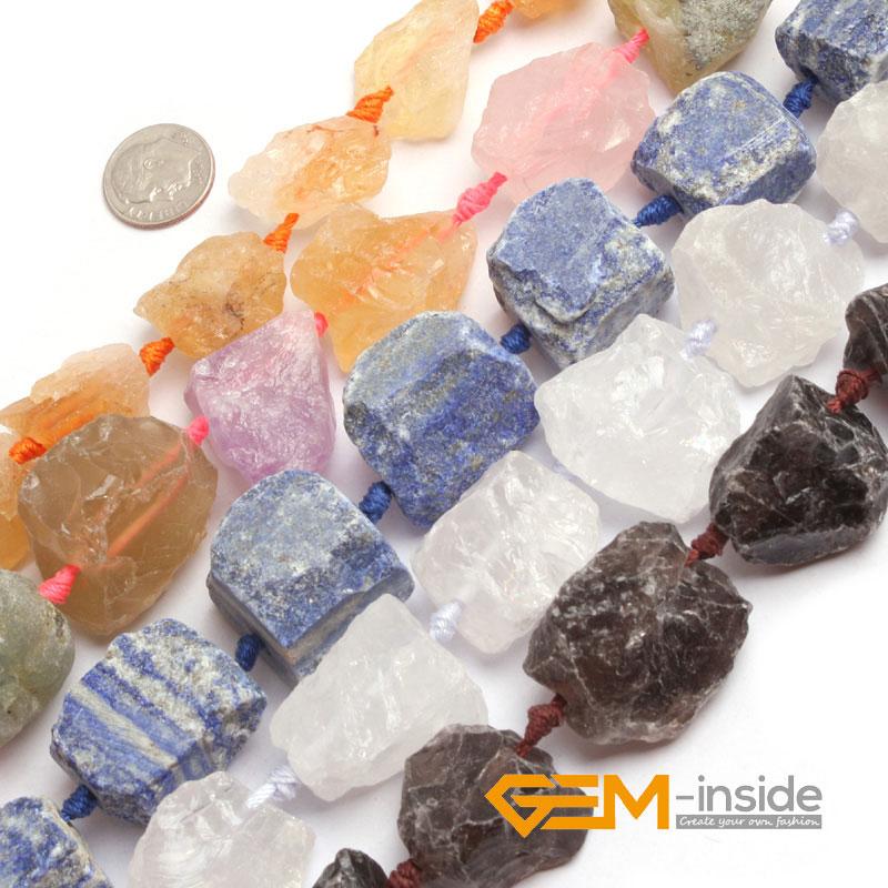20-30x22-32mm Freeform Crude Quartzs Beads,Selectable Kind : (White Smoky Rose Citrines Mixed) Courtz Strand 15