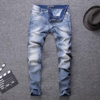 Spring Summer Fashion Designer Men Jeans White Washed Light Blue Classical Slim Italian Style Vintage Homme