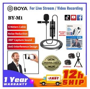 Image 3 - 마이크 BOYA BY M1 6m 클립 온 Lavalier 미니 오디오 3.5mm 칼라 콘덴서 옷깃 마이크 녹음 캐논/아이폰 DSLR 카메라