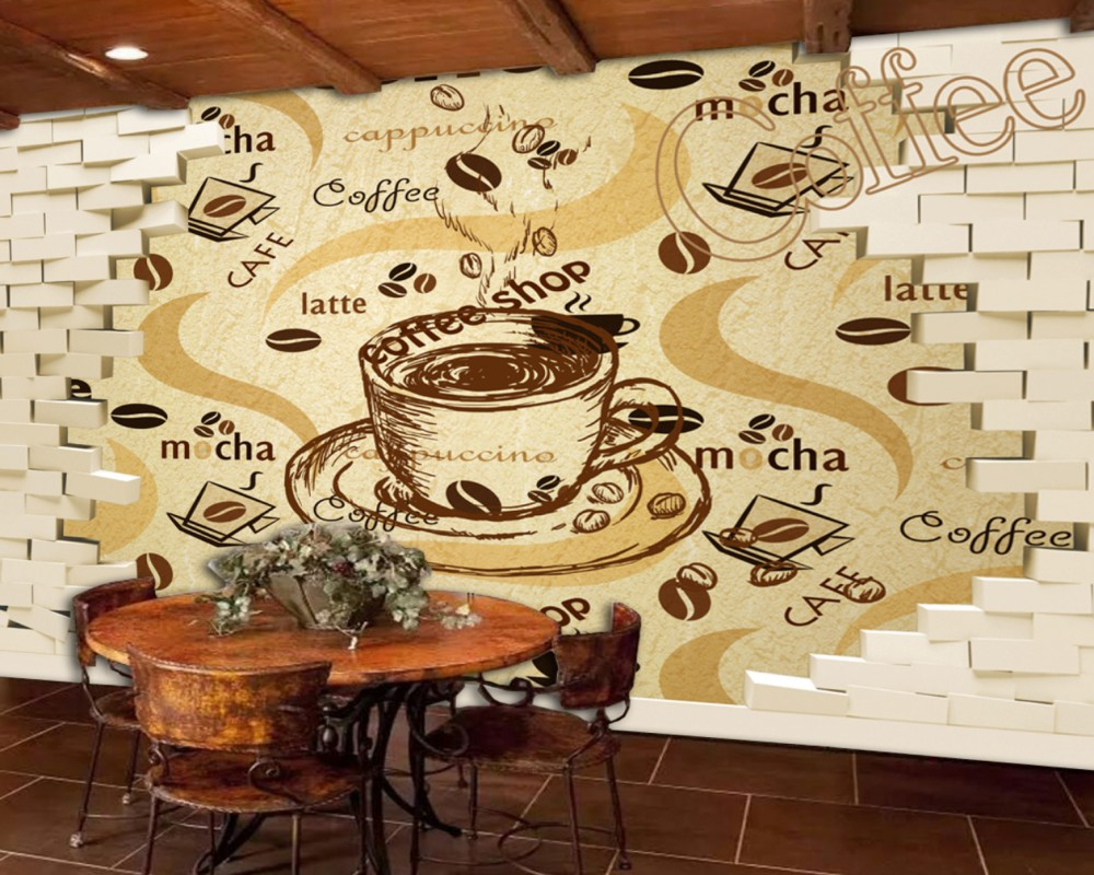 Dropship Free Shipping 3D Retro Vintage Cafe Background Wall Painting Custom Hotel Wallpaper Kitchen Cheap Mural Best Supplier