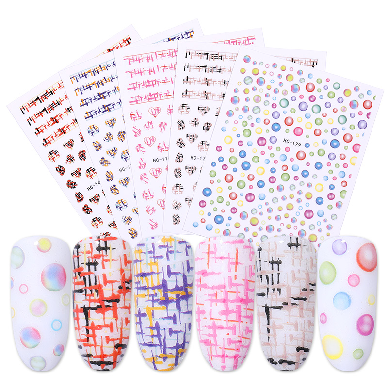 3D Nail Stickers Self Adhesive Stripe Shape Mixed Patterns Transfer Decals Nails Accessories Nail Art Decoration DIY Manicuring