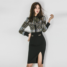 2 Piece Sets Women 2019 Summer autumn Office Lady Top Shirt Bodycon Pe